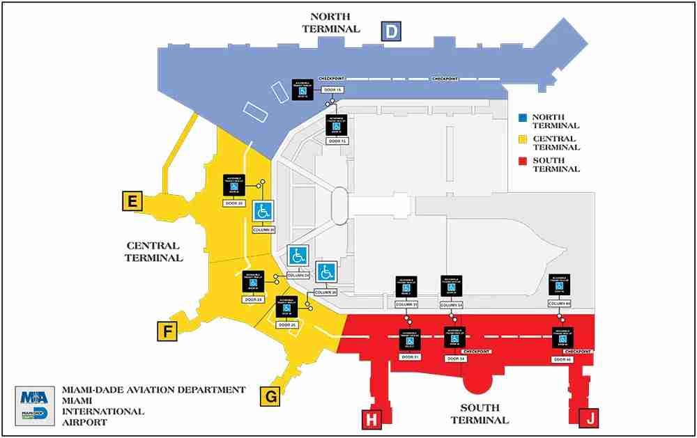 Miami International Airport Terminal Map (Image from Miami International Airport)