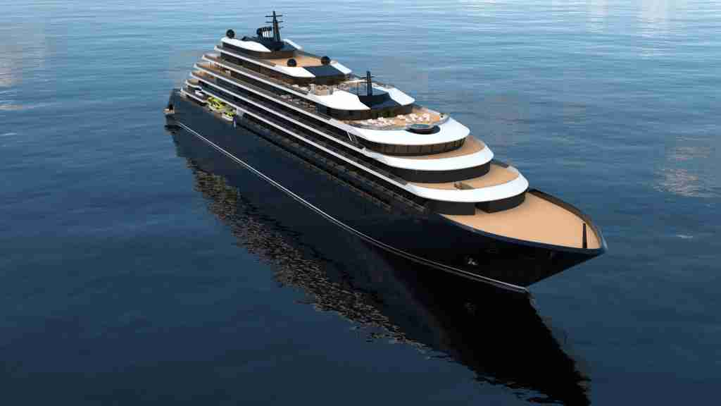The 298-passenger Evrima will have a yacht-like profile with a marina at its back. (Image courtesy of Ritz-Carlton Yacht Collection).
