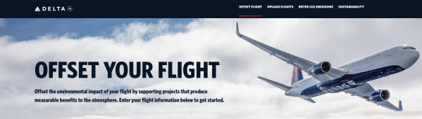 Delta website explaining how to offset your flight. (Image courtesy Delta Air Lines)