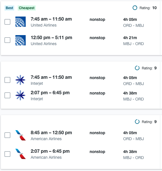 Just a few of the nonstop flights from Chicago O
