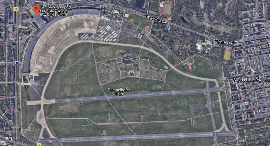 Berlin Templehof Airport, as seen from Google Maps. The airport is a park. Image via Google Maps.