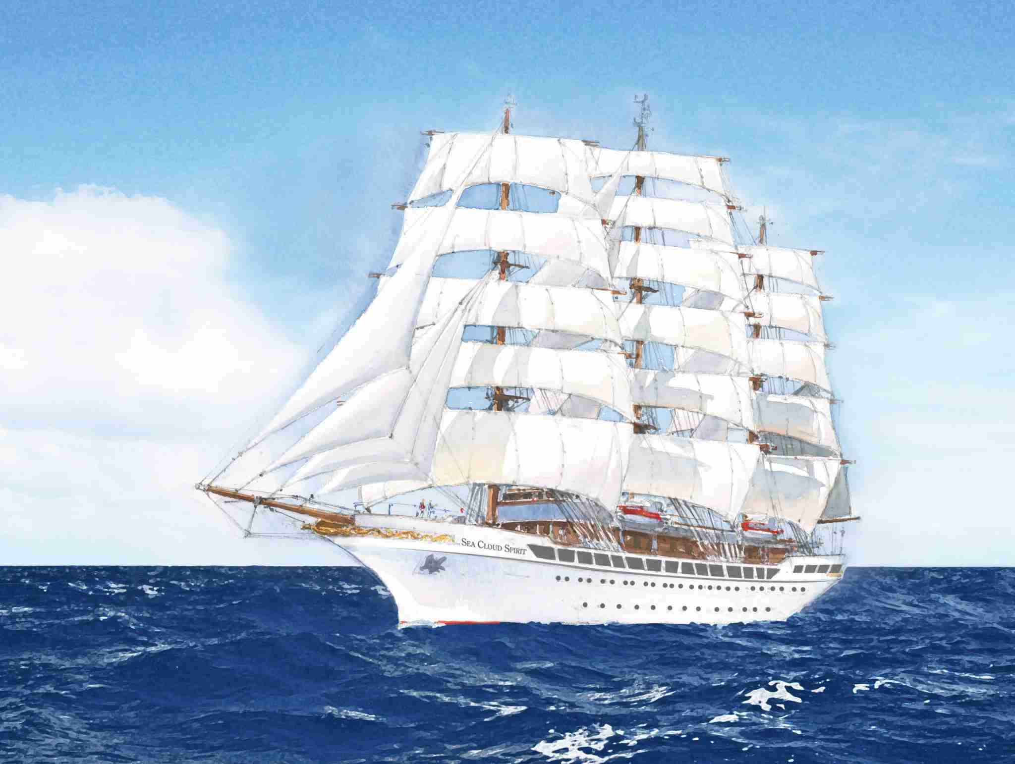 The 136-passenger Sea Cloud Spirit, shown here in an artist