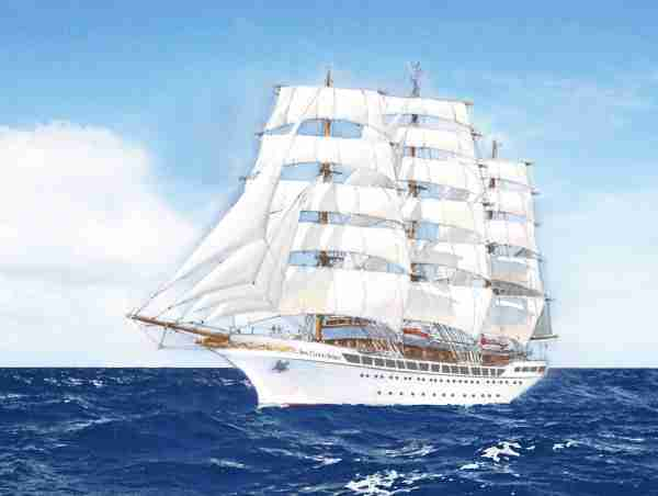 The 136-passenger Sea Cloud Spirit, shown here in an artist's drawing, will be a fully-rigged, three-masted sailing ship. Image courtesy of Sea Cloud Cruises.