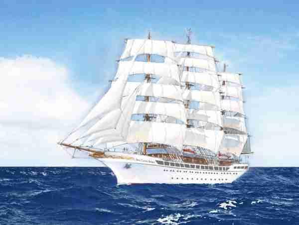 The 136-passenger Sea Cloud Spirit, shown here in an artist