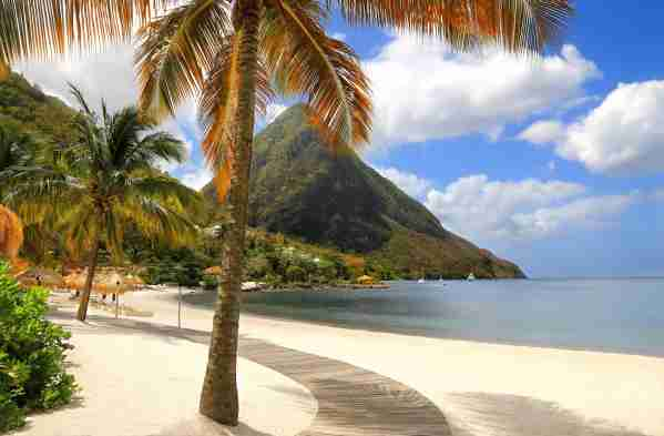 Sugar Beach, Saint Lucia.  (Photo by Inga Locmele / Shutterstock)