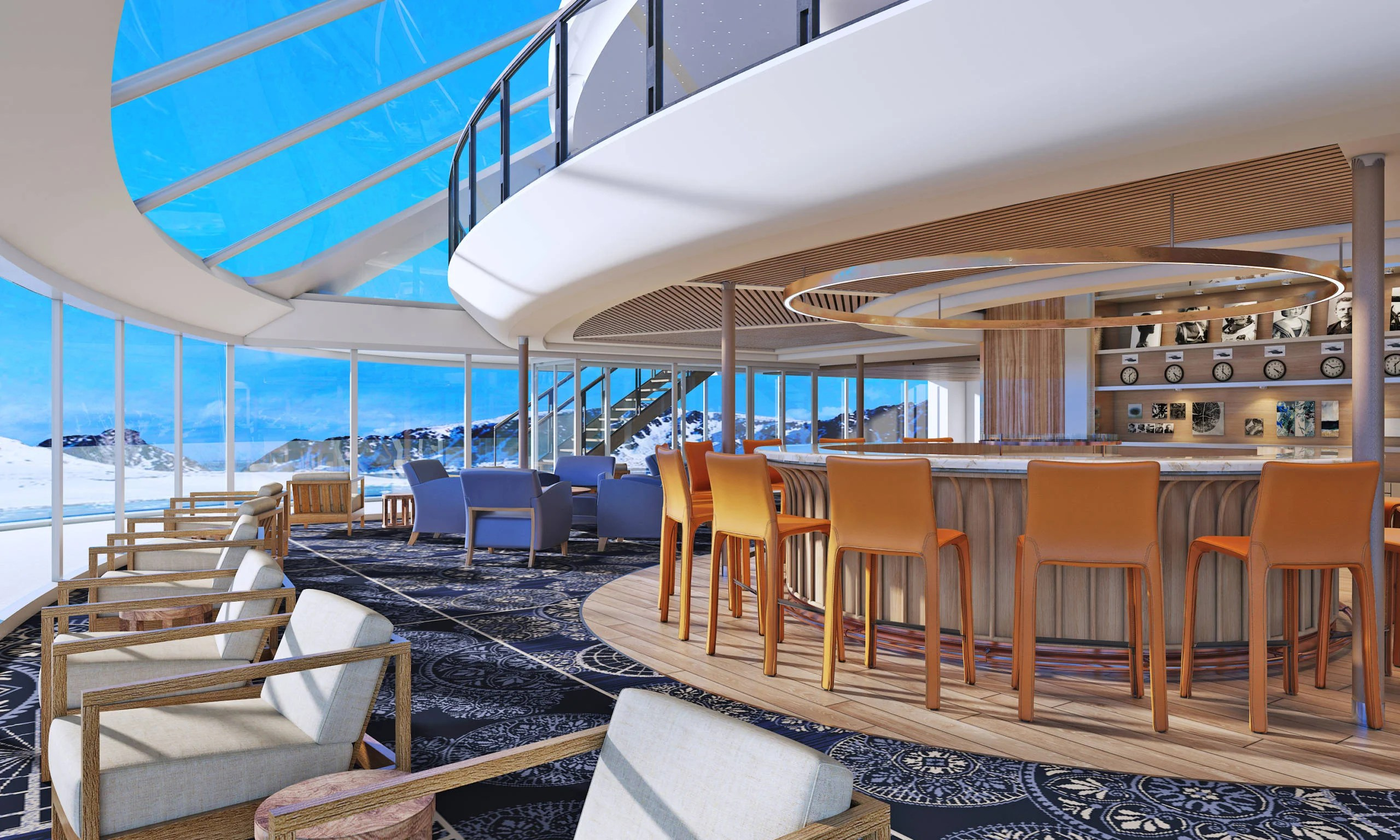 Each of Viking's new expedition ships will have a two-level Explorer's Lounge with floor-to-ceiling windows. Image courtesy of Viking.