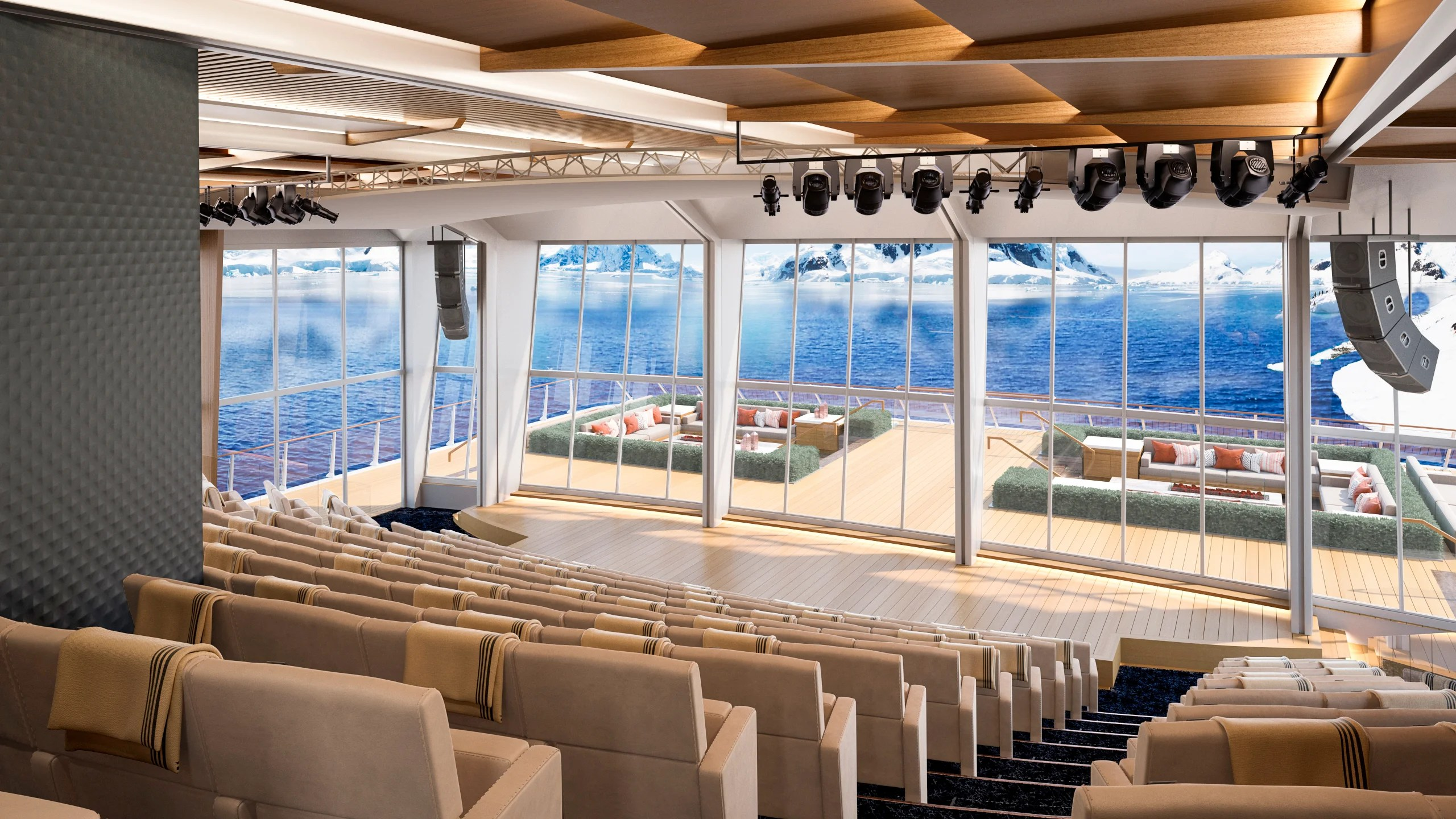 Lecture halls on Viking's new expedition ships will have walls that slide open to reveal stunning views through floor-to-ceiling glass. Image courtesy of Viking.