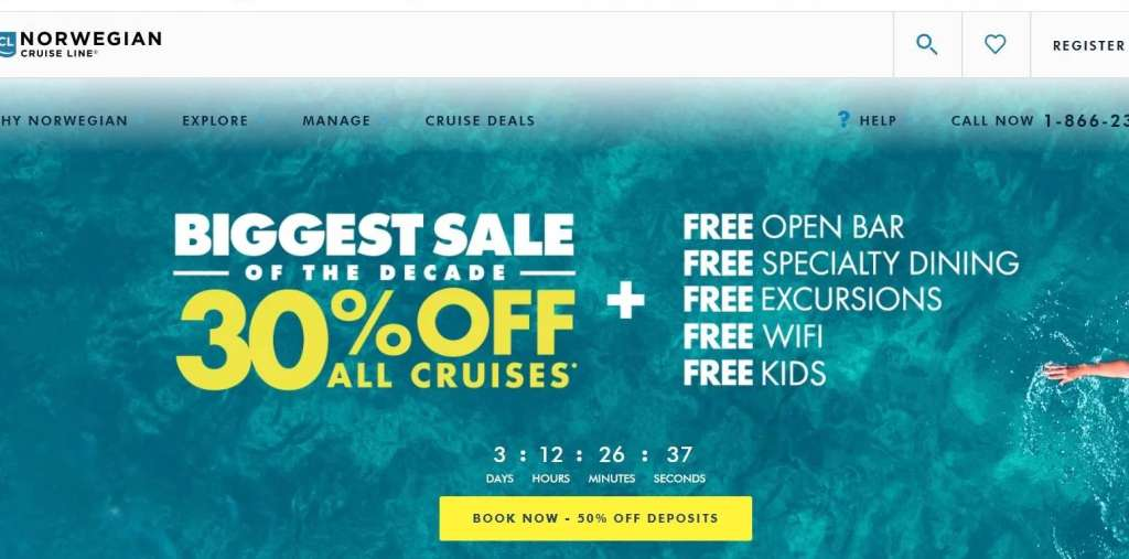 Norwegian Cruise Line often throws in free drinks as a booking incentive.
