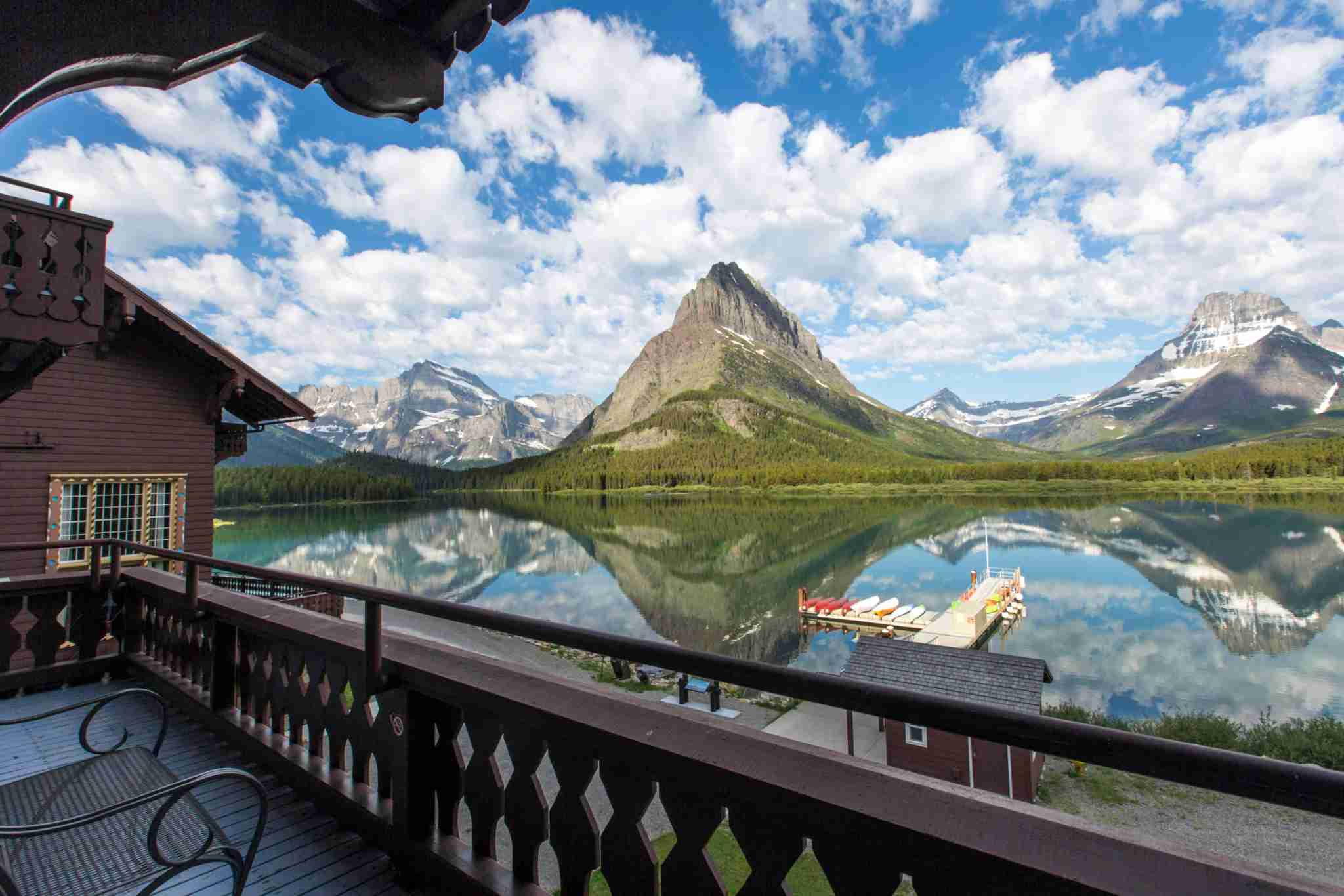 Many Glacier Hotel view from a room in Glacier National Park. (Photo courtesy Xanterra Travel Collection)