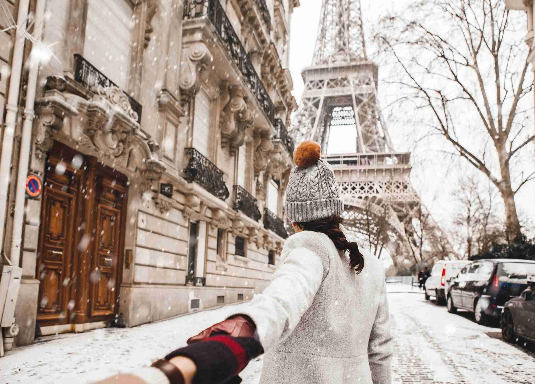 Paris in the snow Eiffel Tower
