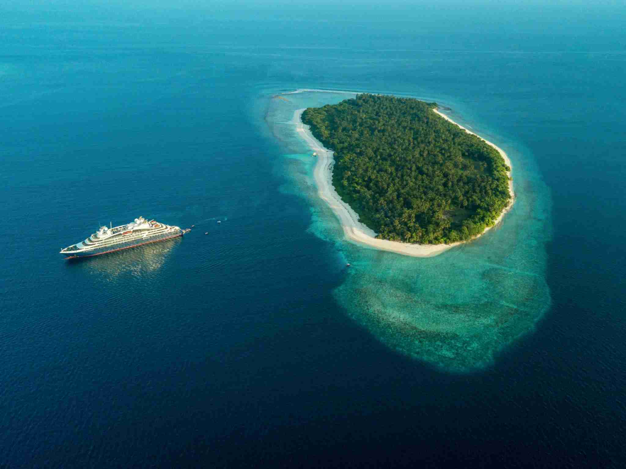France-based cruise line Ponant offers voyages around the Maldives on an intimate, 184-passenger vessel. (Photo courtesy of Ponant).