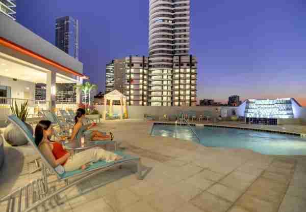 The pool with Miami skyline views at the Hampton Inn & Suites Miami/Brickell Downtown (Photo courtesy of Hilton)
