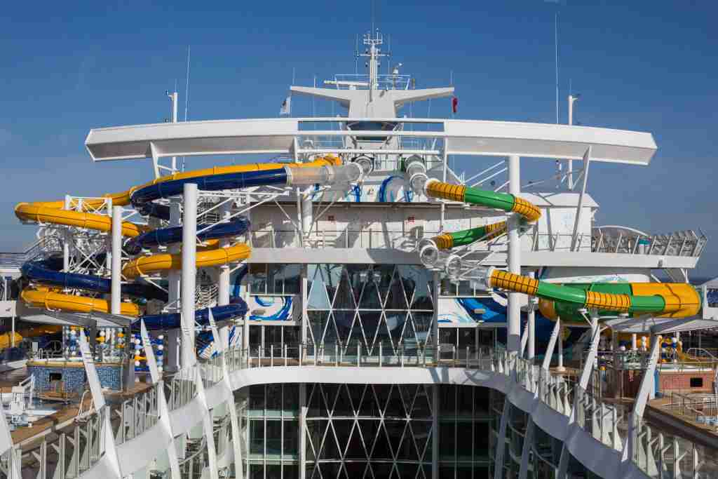 The Perfect Storm complex of waterslides is a highlight of the top deck of Royal Caribbean