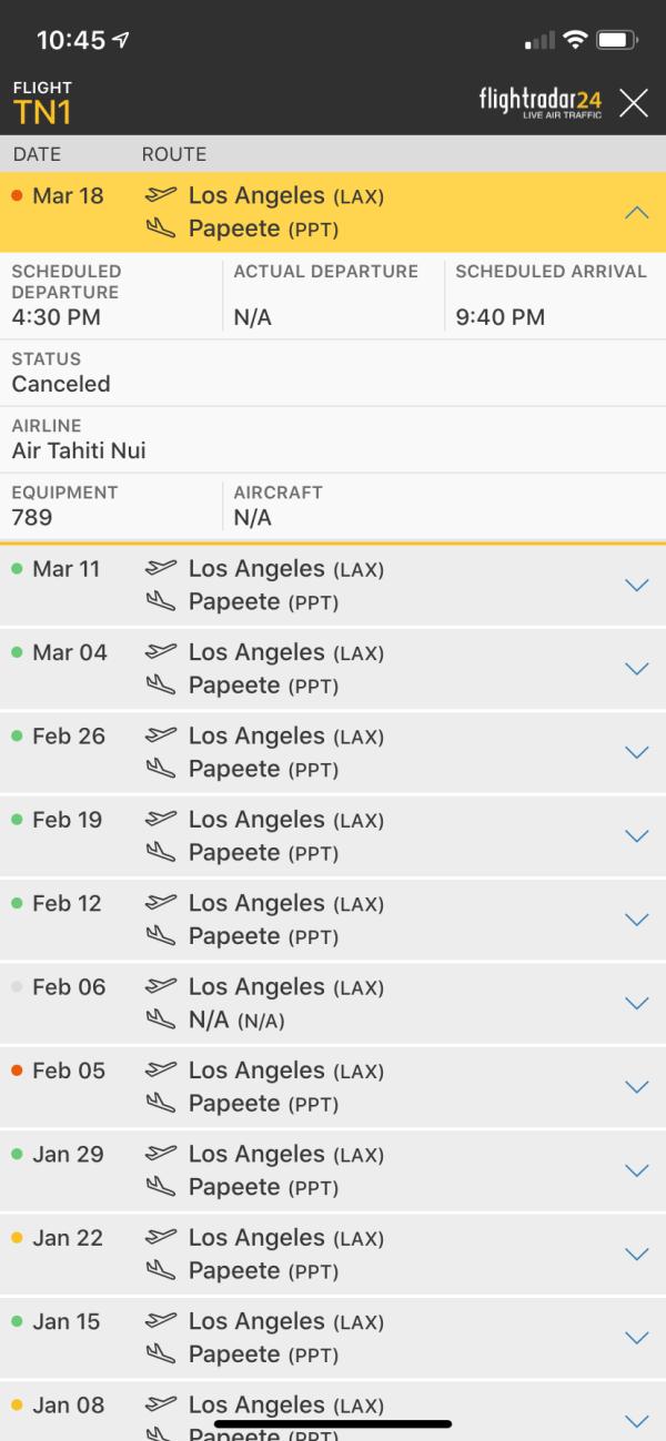 Air Tahiti TN1 flight LAX to PPT