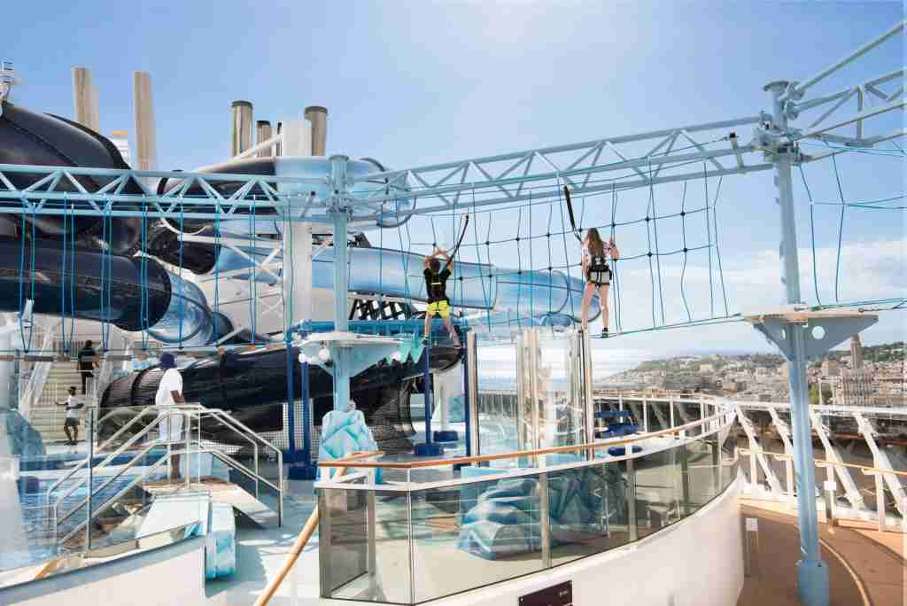 Adults and children alike can get a thrill at the suspended-in-the-sky ropes course on MSC Meraviglia. (Photo courtesy of MSC Cruises).