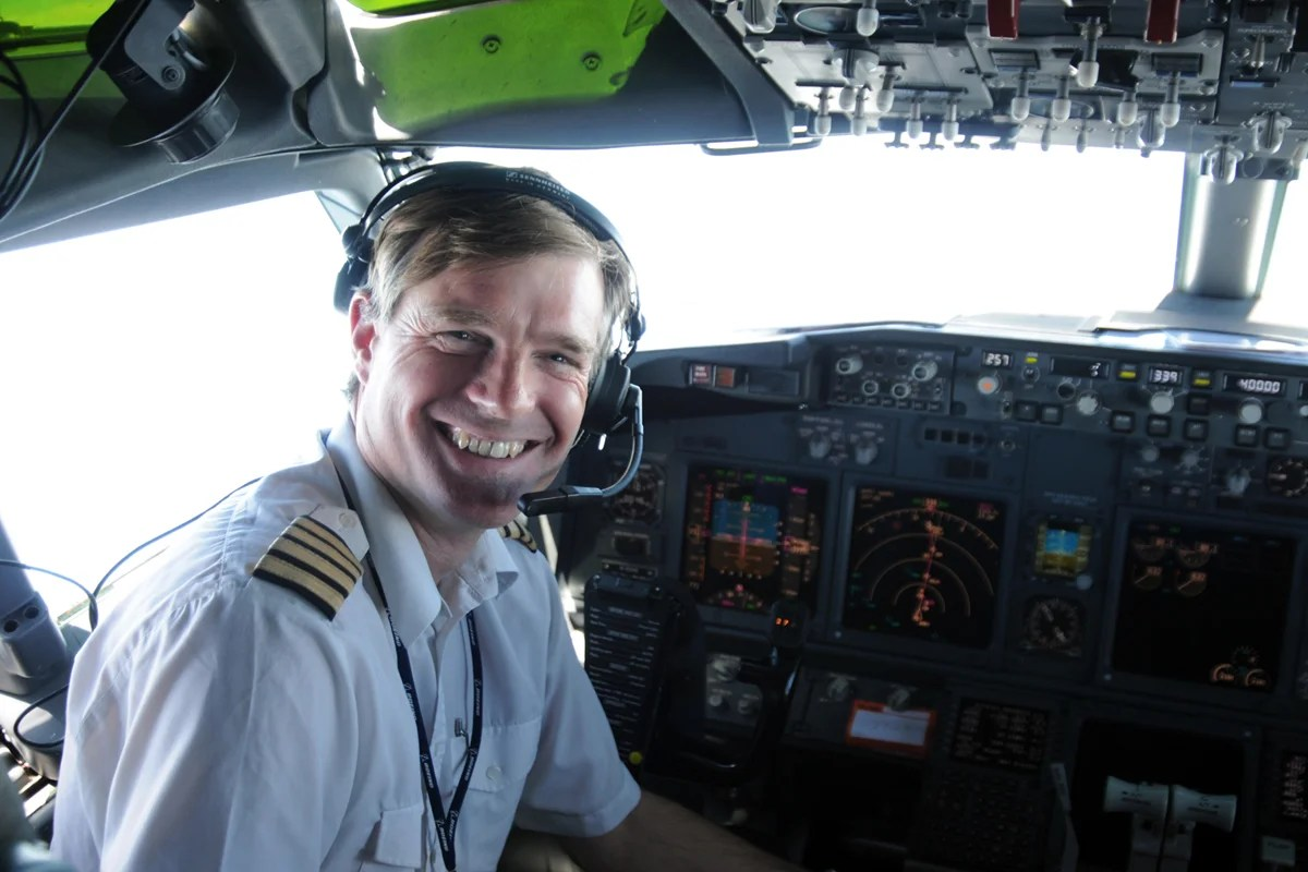 Captain Chris Brady in the cockpit of an Airbus A320 at 40,000 feet (Courtesy of Chris Brady)
