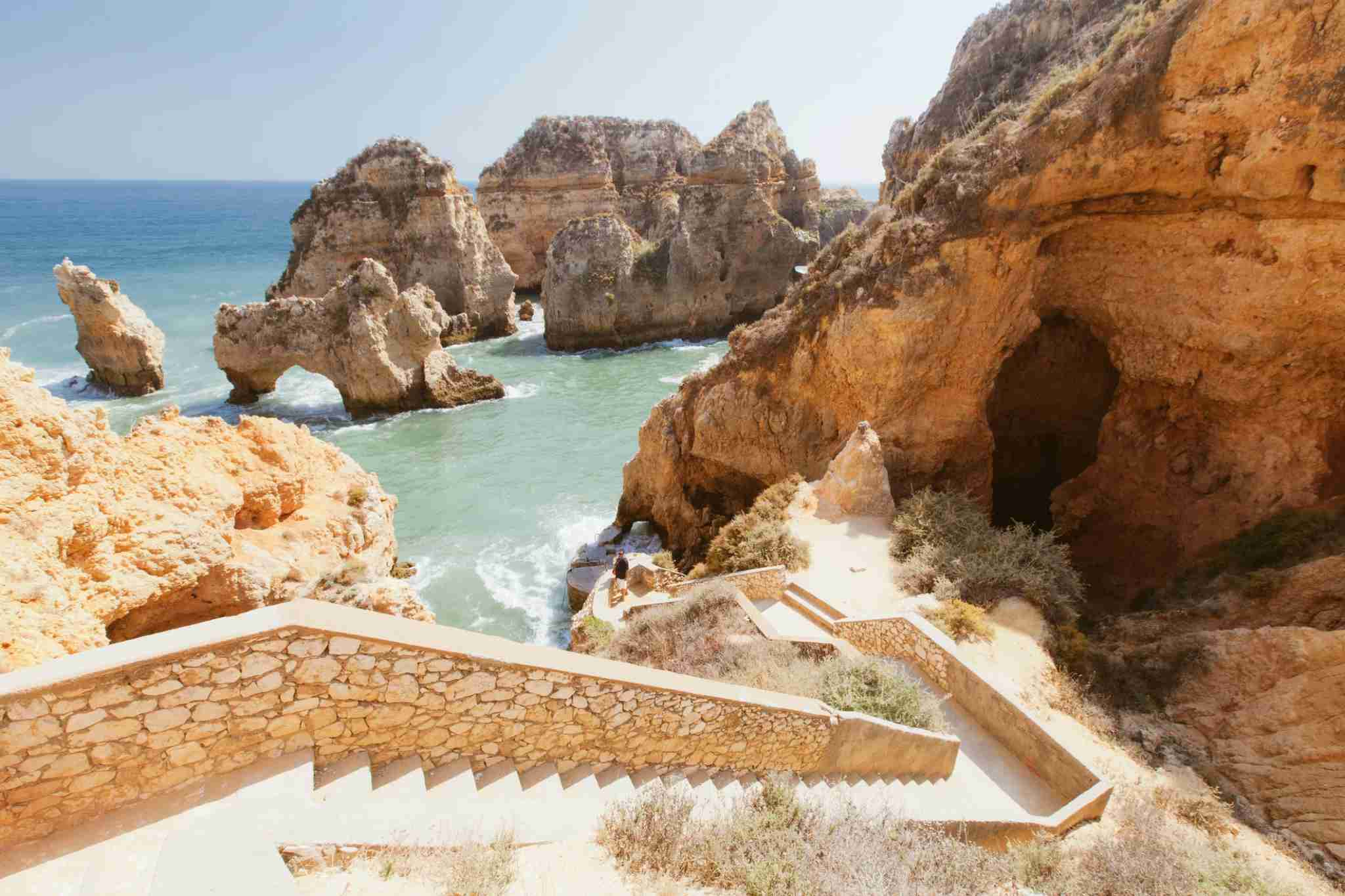 Beach in Lagos, Algarve, Portugal. (Image by M Swiet Productions / Getty Images)