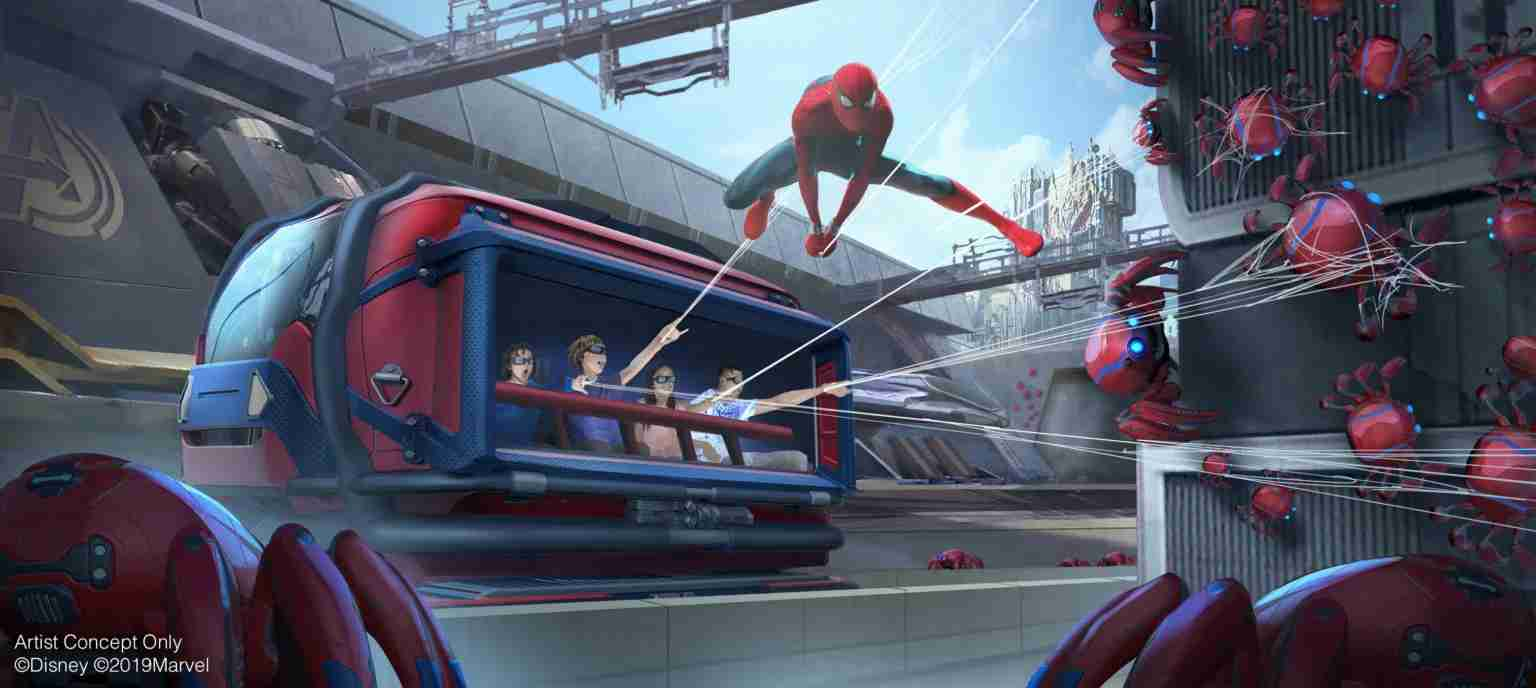 Avengers Campus will open in summer 2020 at Disney California Adventure at Disneyland Resort, including the first Disney ride-through attraction to feature Spider-Man. The attraction will give guests a taste of what it's like to have actual super powers as they sling webs to help Spider-Man collect Spider-Bots that have run amok. (Disney/Marvel)