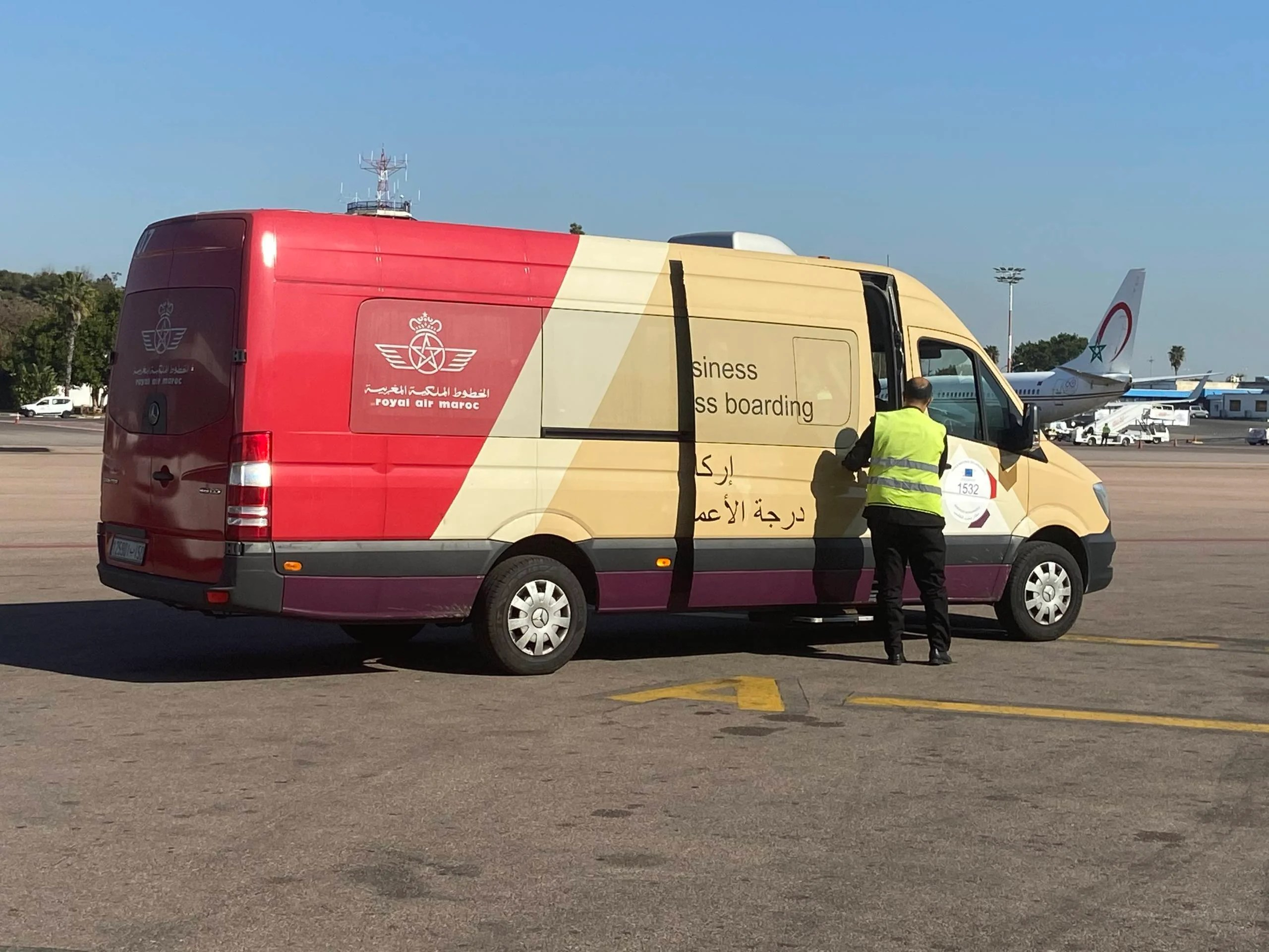 Royal Air Maroc's special van for business class passengers.