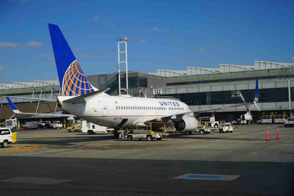 A United Airlines jet parked at Newark Liberty International Airport. (Photo by Shutterstock)