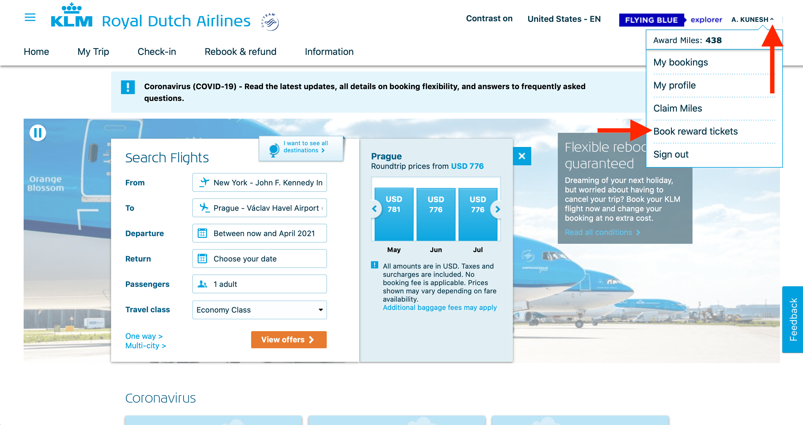 Booking Award Tickets with Flying Blue
