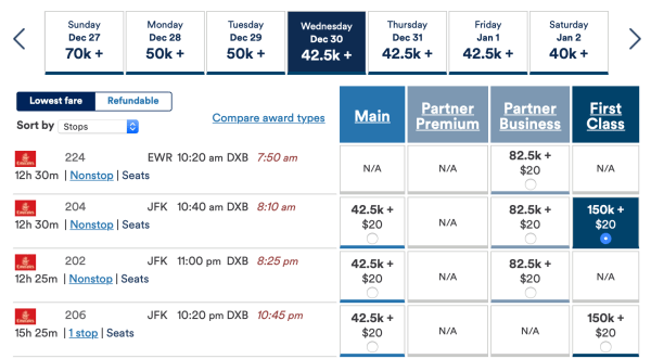 Booking NYC to DXB with Mileage Plan screen shot