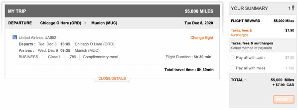 Booking ORD MUC with Aeroplan Screen Shot