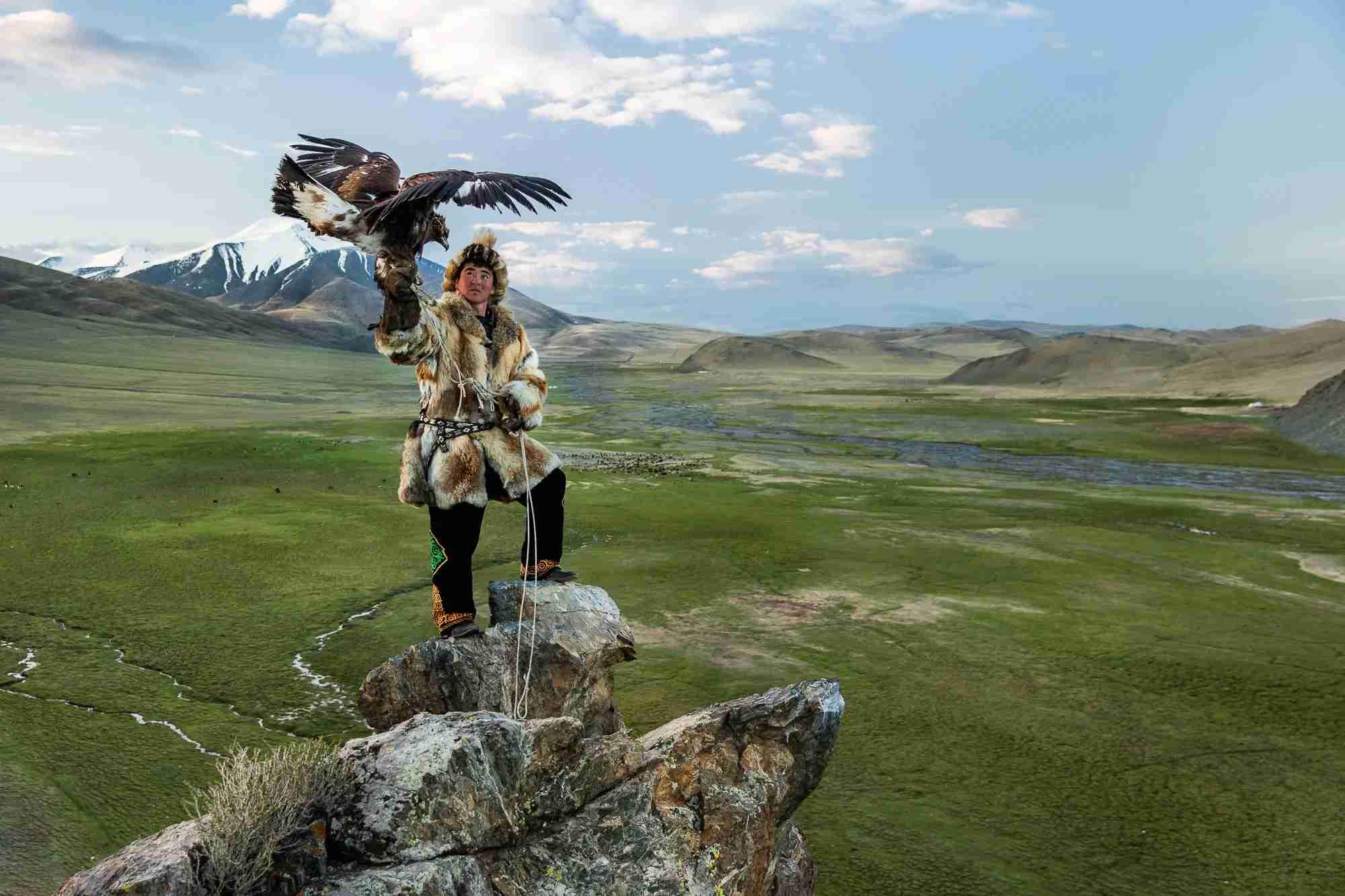 ALTAI MOUNTAIN RANGE, MONGOLIA - 14 JUNE 2015: Berik, one of Sailau
