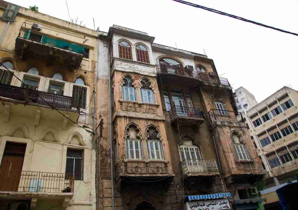 Crumbling facades in the Mar Mikhael area of Beirut. (Photo by Eric Lafforgue/Art in All of Us via Getty Images)