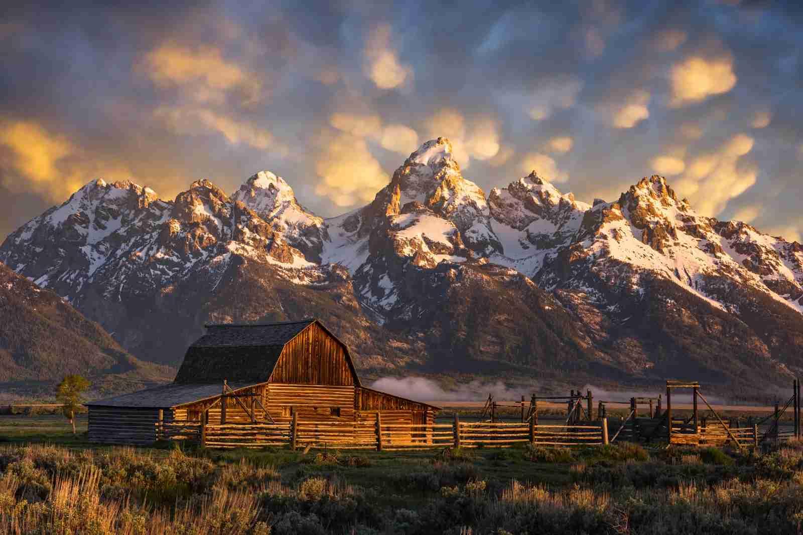 John Moulton Barn at Grand Tetons National Park. (Photo by frank1crayon/Adobe Stock)