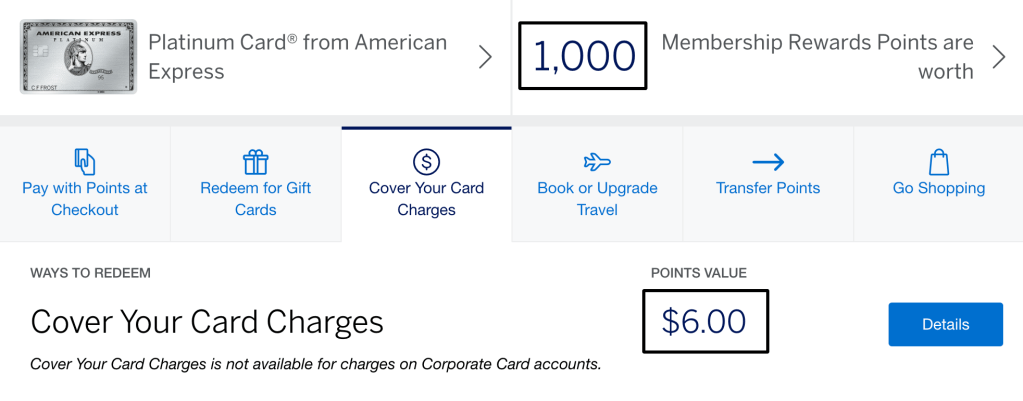 Currently, you can use points towards your statement but the conversion is poor ($6 = 1,000 points)