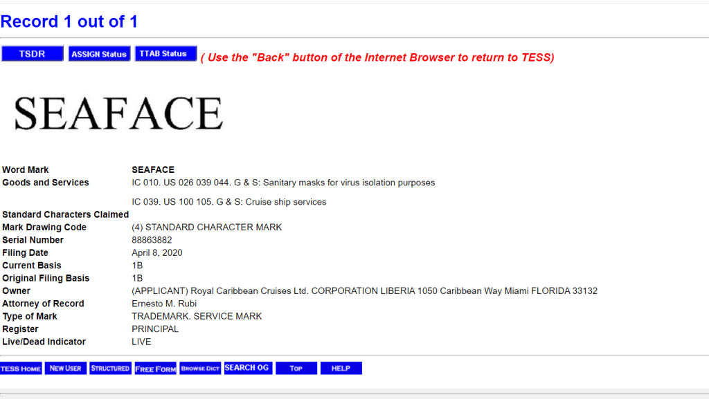 "Royal Caribbean Cruises Ltd. has applied for a trademark for the word ""Seaface."" Image is a screenshot of the application at the U.S. Patent and Trademark Office."