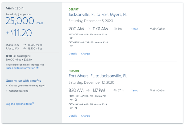 Screenshot courtesy of American Airlines
