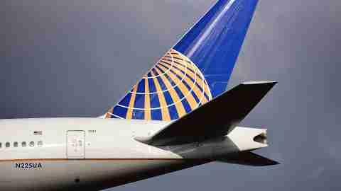 United Airlines tail of plane