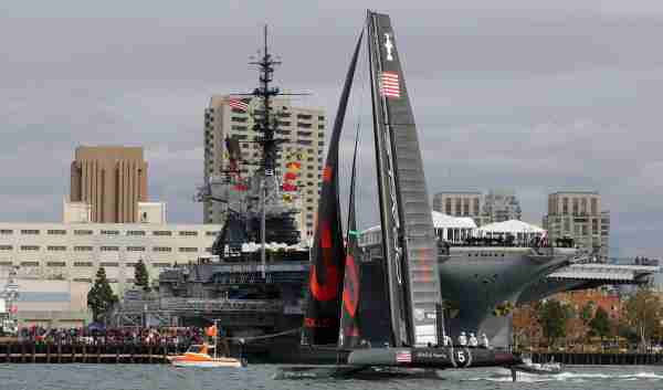 SAN DIEGO, CA - NOVEMBER 20: Oracle Racing 5 - Coutts competes in the AC500 Speed Trial in front of the San Diego skyline and the U.S.S. Midway during the America