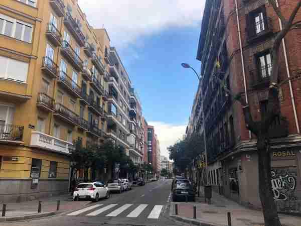 An empty Madrid street. (Photo by Carmen Hanson)