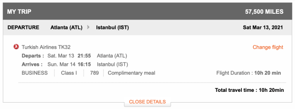 ATL to IST Aeroplan screen shot