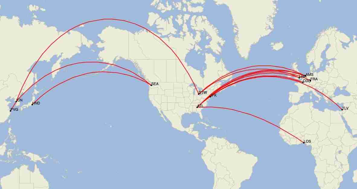 Delta long-haul international routes in June 2020. (Image by Cirium)