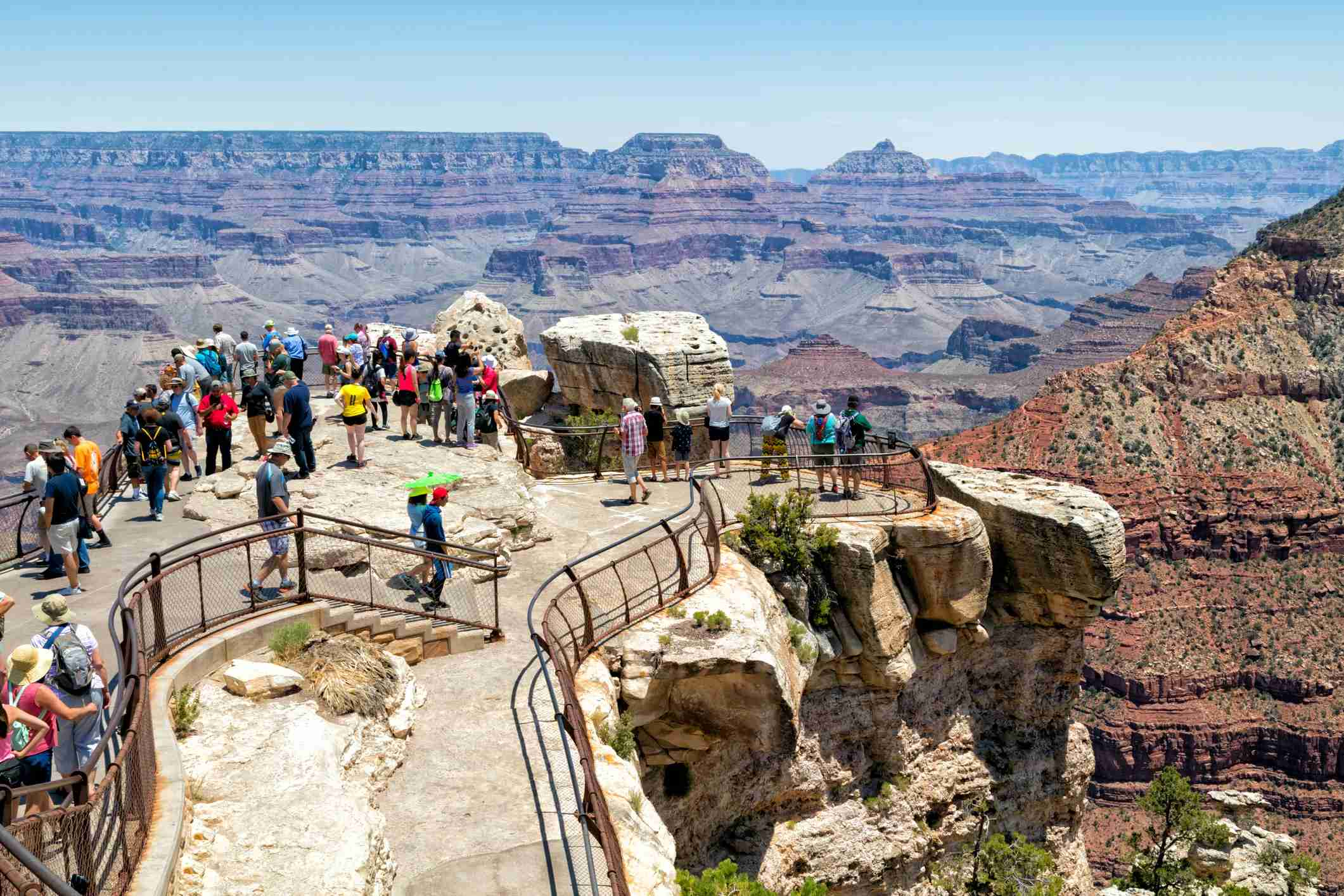 Tourists at viewpoint, South Rim, Grand Canyon National Park, Arizona, USA (B&M Noskowski / Getty Images)