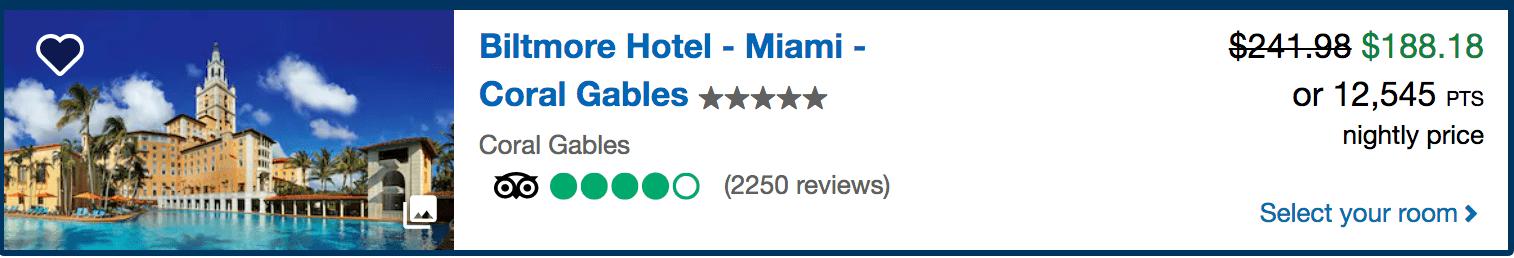 The Biltmore - Miami, Florida via Chase Ultimate Rewards points