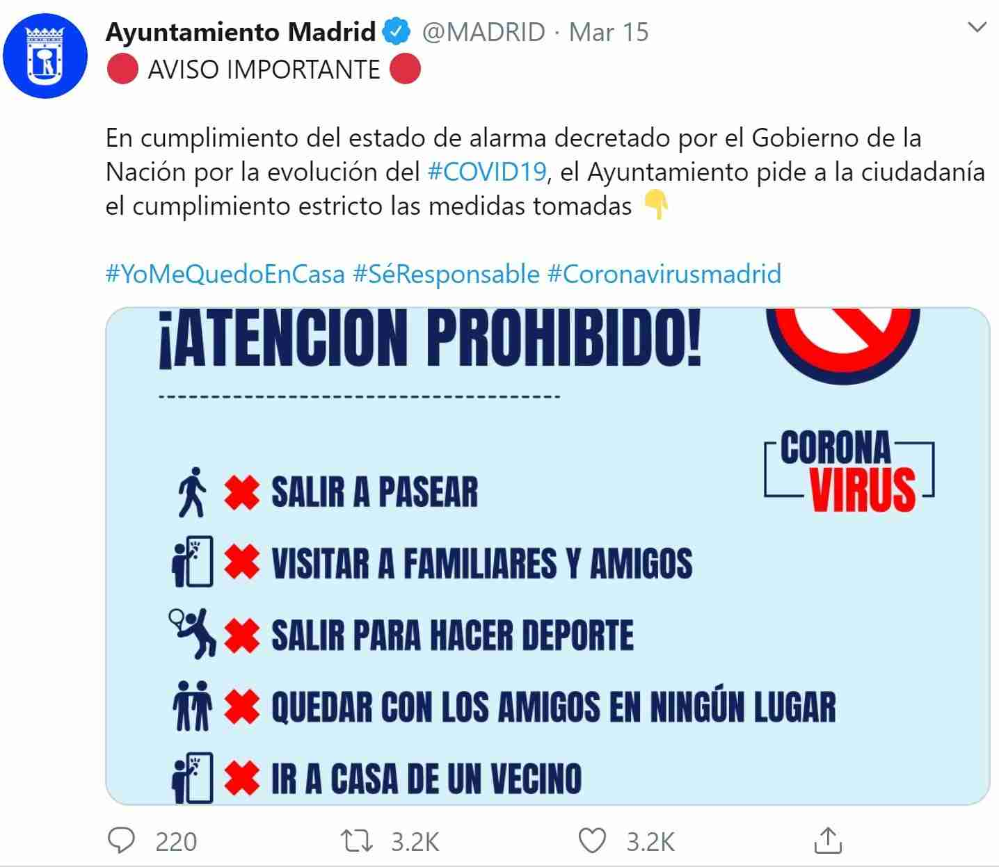 Tweet from @Madrid, stating the lockdown rules.