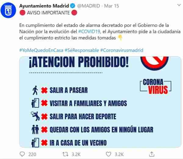 Tweet from @Madrid, stating the lockdown rules.