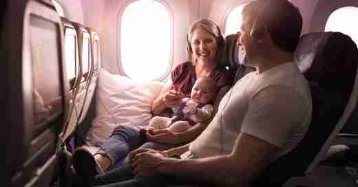"The Skycouch is Air New Zealands ""lie-flat"" economy product designed with couples and families in mind."