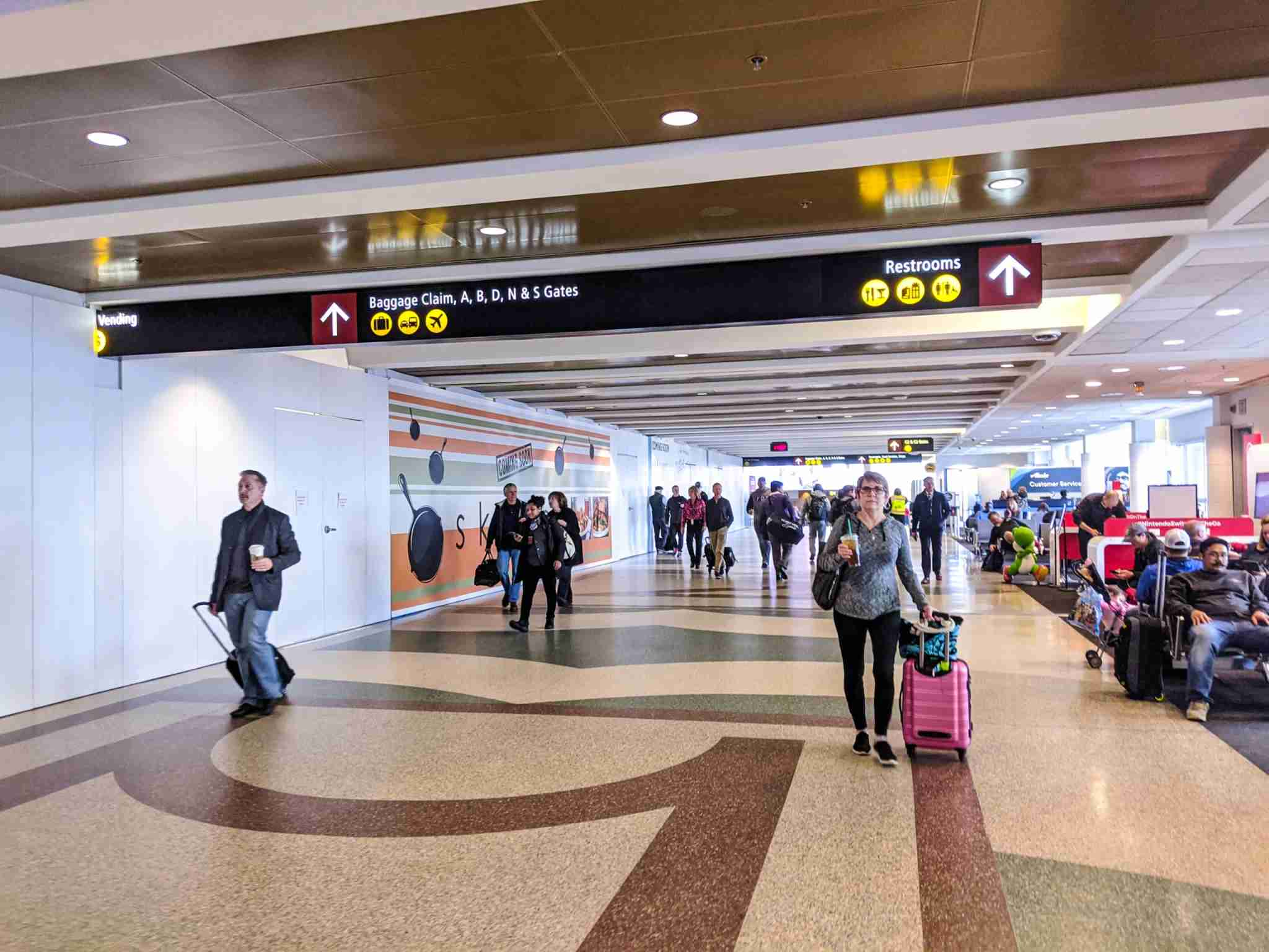 The Seattle airport was relatively crowded compared to its counterparts in other cities in early March, 2020