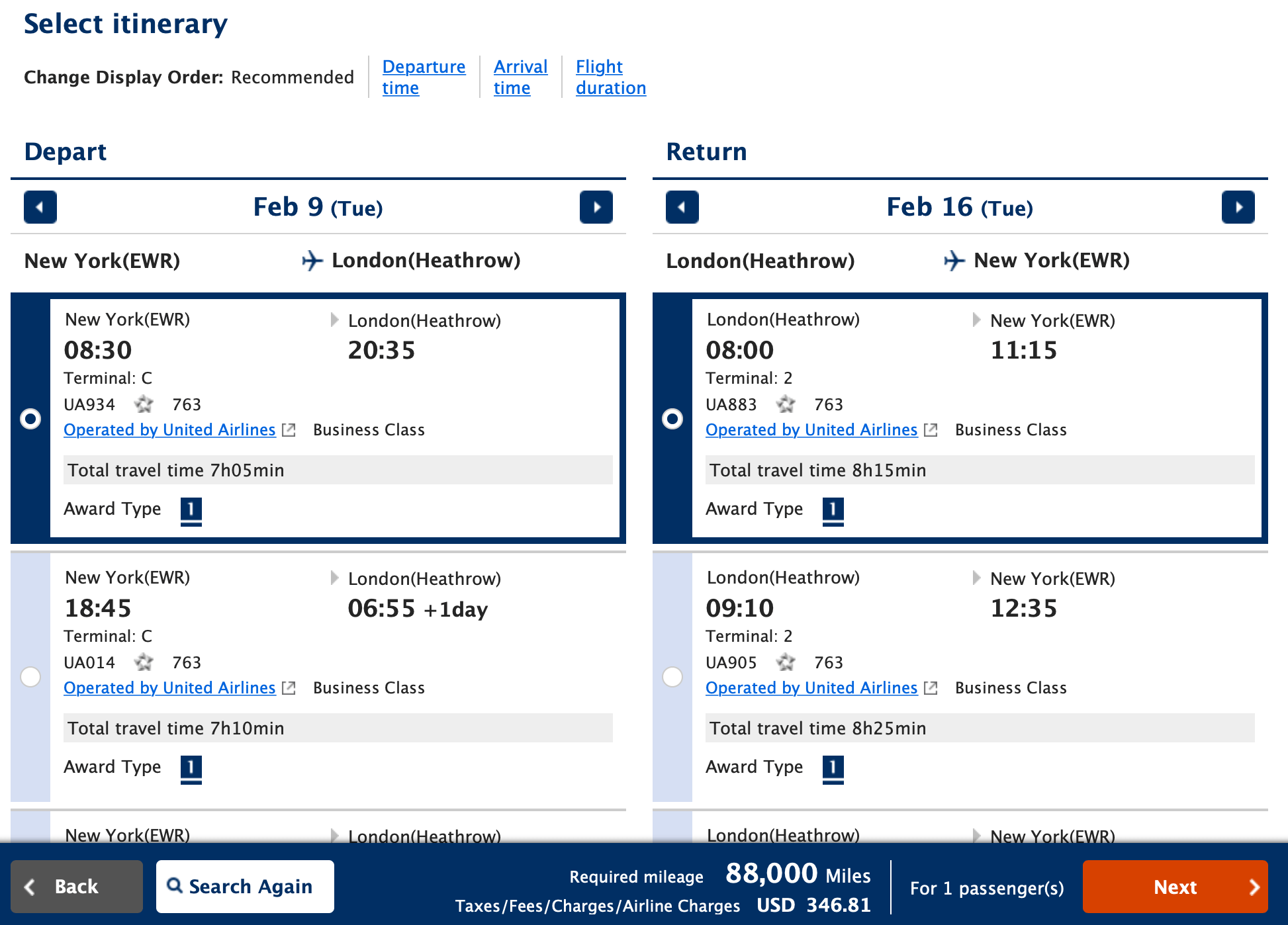Award Search Results on ANA Mileage Club