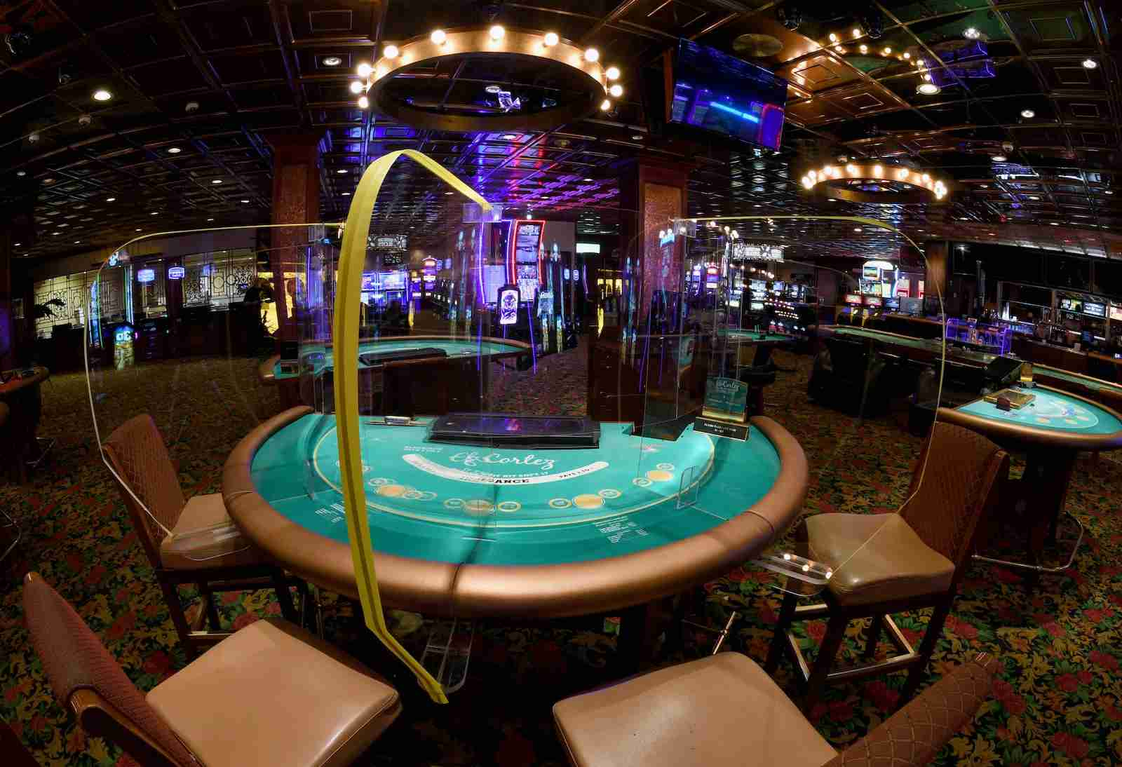 Some prototype Safety Shields being tested in Las Vegas Casinos. (Photo by Ethan Miller/Getty Images)