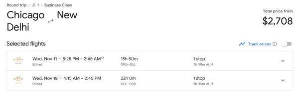 Chicago to Delhi with Etihad