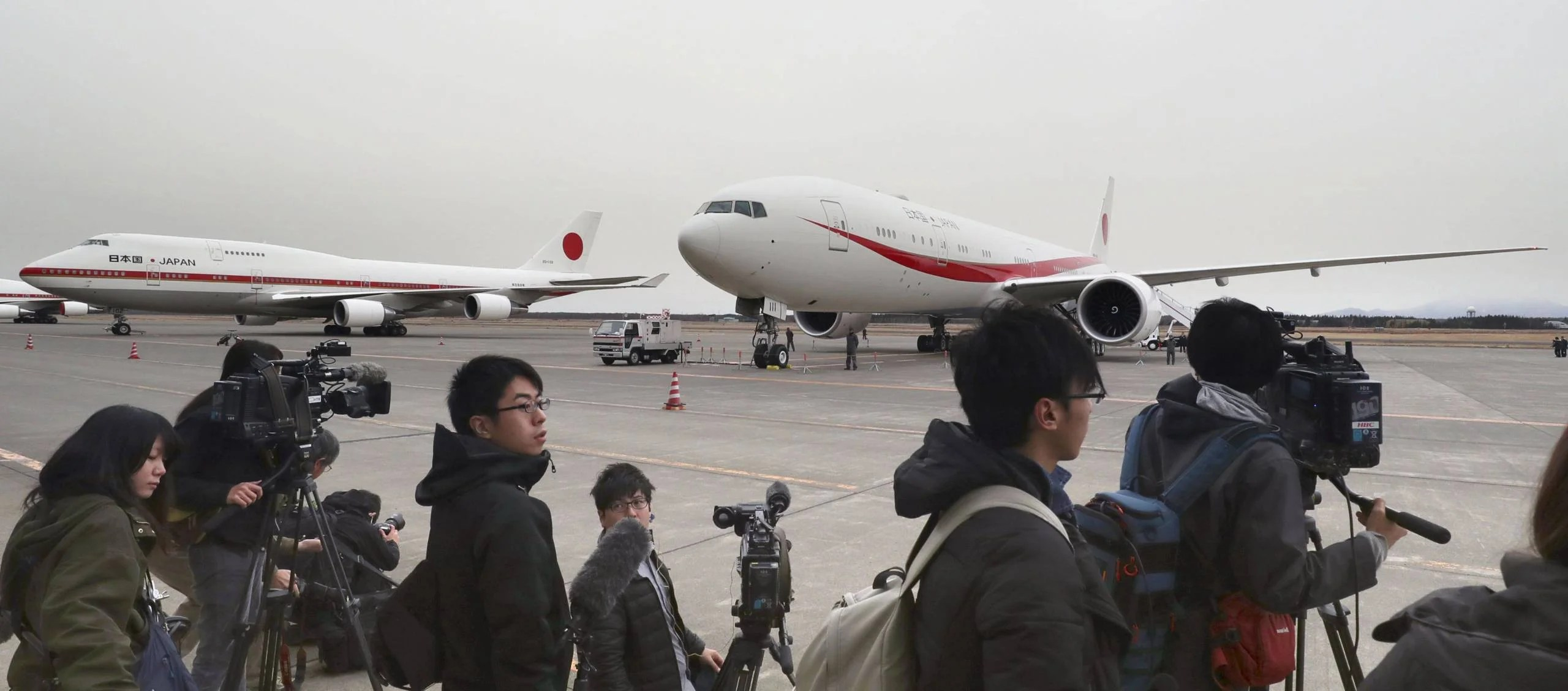 The new government Boeing 777-300 ER (R) is shown to the press at the Japan Air Self-Defense Force's base in Chitose, Hokkaido, on Dec. 6, 2018. On the left is the current Boeing 747. (Kyodo)==Kyodo (Photo by Kyodo News Stills via Getty Images)