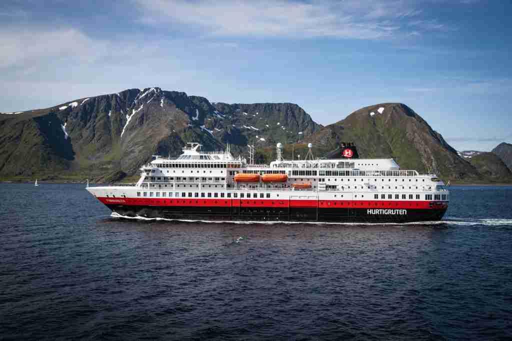 The Hurtigruten ship Finnmarken sails along Norway's coast. (Photo courtesy of Hurtigruten).