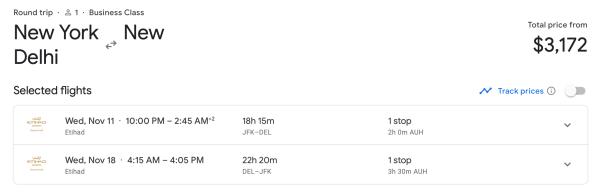 New York to Delhi on Etihad